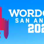 logo for WordCamp San Antonio 2020 with gradient blue background